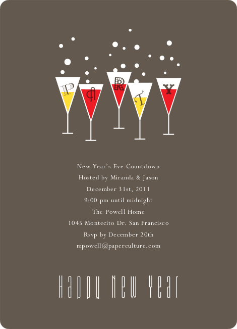 Champagne Party New Year's Invitations - Scarlet