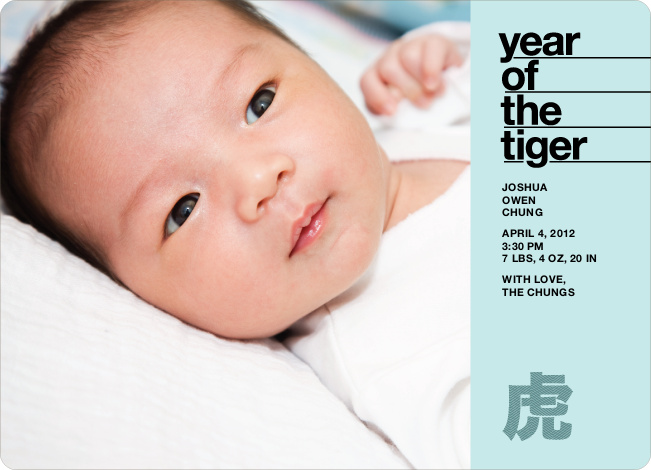 Year of the Tiger Birth Announcements - Teal