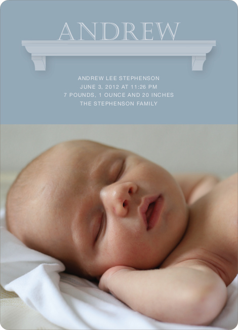 Name Frame Photo Baby Announcements - Mystic Blue