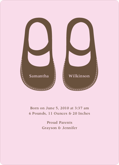 Girls' Shoes Modern Baby Announcement - Baby Pink