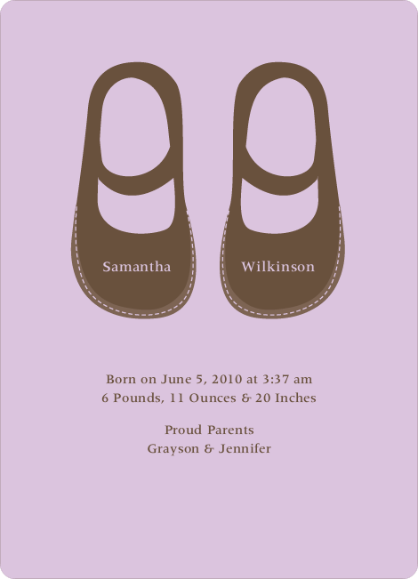 Girls' Shoes Modern Baby Announcement - Lavender