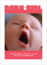 Bold Modern Girls' Baby Announcement - Berry Pink