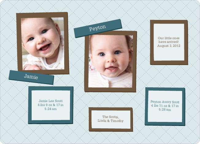 Twin Birth Announcements in Photo Frames - Glacier