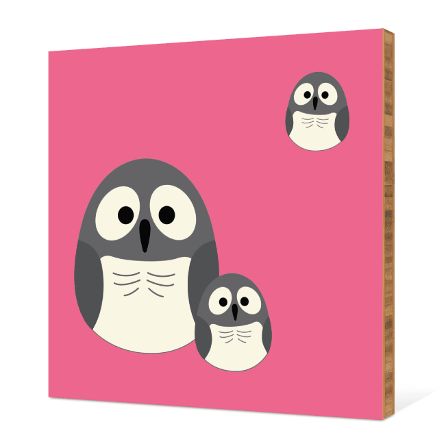 Owl Family Bamboo Wall Art - Fuchsia