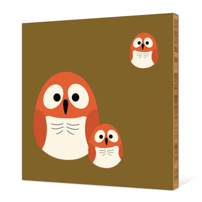 Owl Family Bamboo Wall Art - Baby Blue