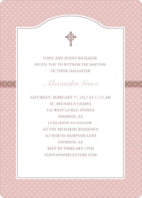 Truly Traditional Baptism Invitation - Pink