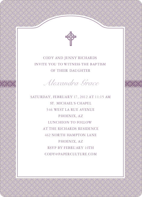Truly Traditional Baptism Invitation - Purple