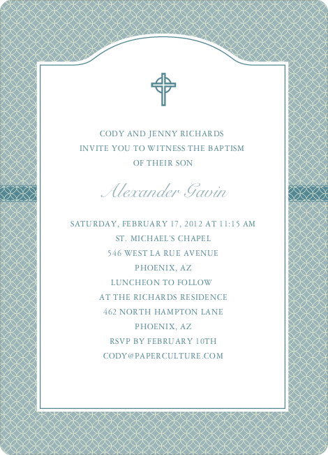 Truly Traditional Baptism Invitation - Blue Green