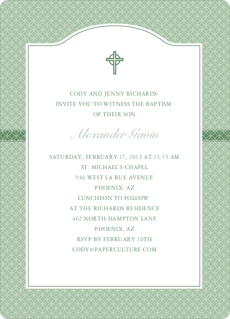 Truly Traditional Baptism Invitation - Green