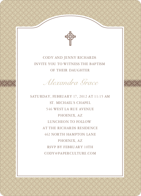 Truly Traditional Baptism Invitation - Beige