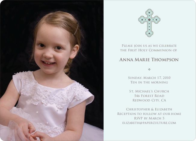 Photo Card First Holy Communion Invitations - Pale Mint