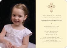 Photo Card Holy Communion Invite - Creamy Yellow