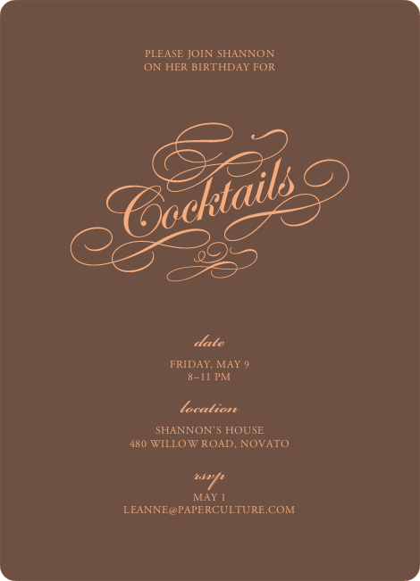 Elegant Yet Modern Cocktail Party Invitation – Coctail Party Invitation