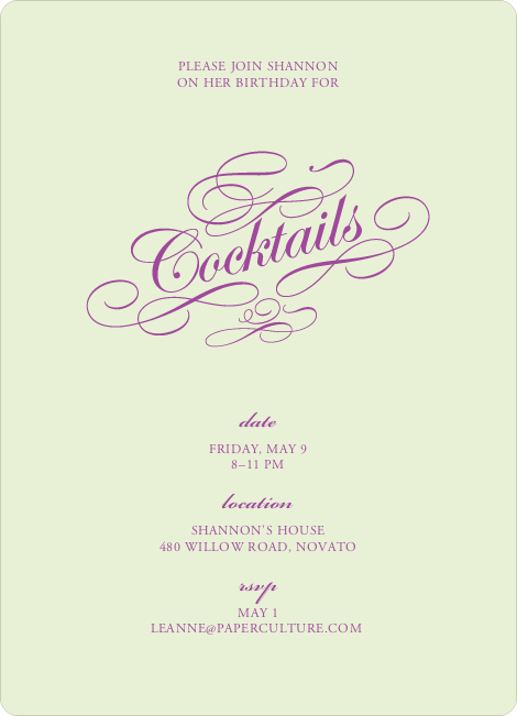 Elegant, Yet Modern Cocktail Party Invitation - Pale Green