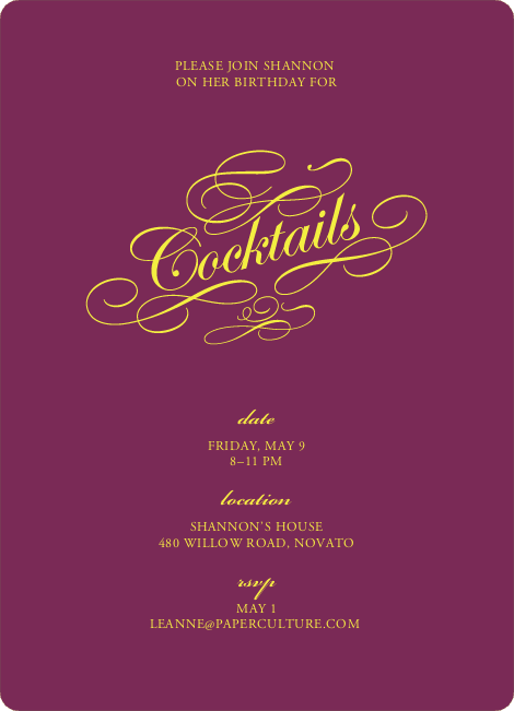 Elegant, Yet Modern Cocktail Party Invitation - Rasberry