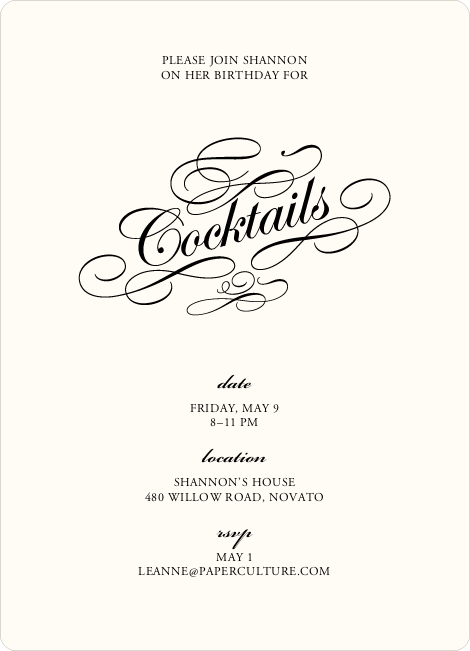 Elegant, Yet Modern Cocktail Party Invitation - Light Cream