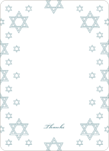 Star of David Border Note Cards - Teal