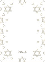 Star of David Border Note Cards - Olive