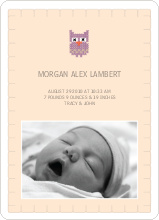 Quilted Owl Photo Announcement - Beige