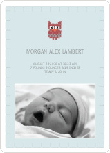 Quilted Owl Photo Announcement - Pale Blue
