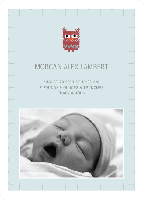 Quilted Owl Photo Baby Announcement - Pale Blue