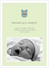 Quilted Owl Photo Announcement - Light Green