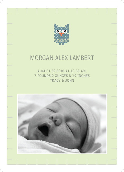 Quilted Owl Photo Baby Announcement - Light Green
