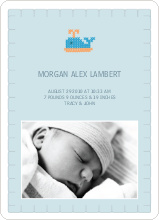 Quilted Whale Photo Announcement - Pale Blue
