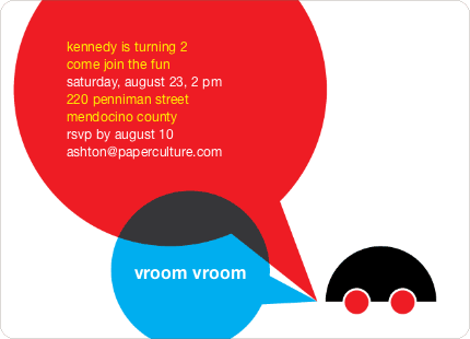 Vroom Car Modern Birthday Invitation - Bright Red