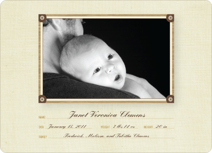 Wallpaper Photo Frame Birth Announcements - Champagne