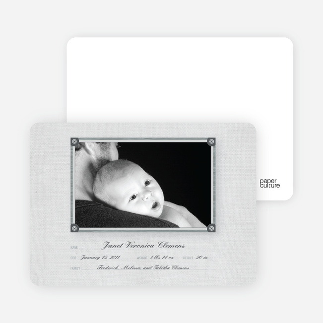Wallpaper Photo Frame Birth Announcements - Pale Nickel