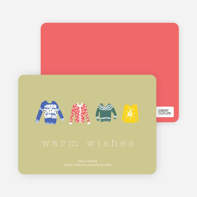 Warm Sweater Wishes Holiday Cards - Light Khaki