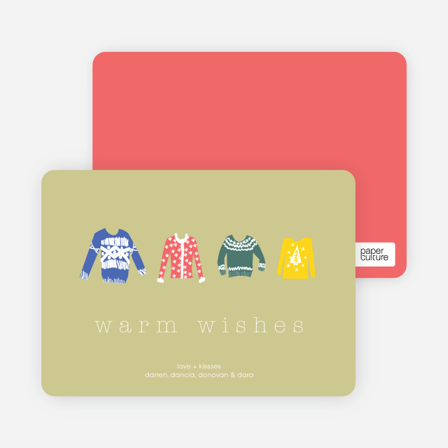 Warm Sweater Wishes Holiday Cards - Light Khaki