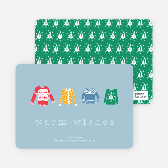 Warm Sweater Wishes Holiday Cards - Vista Blue