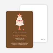 Wedding Dress Cake Shower Invitations - Papaya