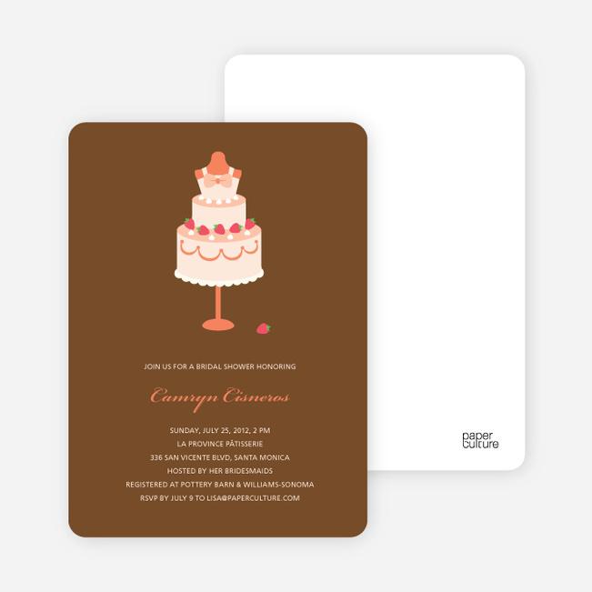 Wedding Dress Cake Shower Invitations - Papaya