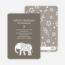 White Elephant Party Invitations - Charcoal Grey