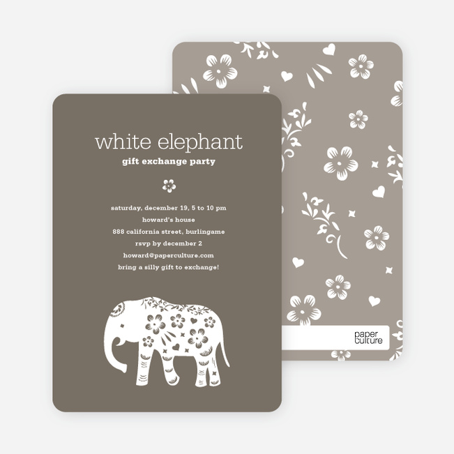 White Elephant Holiday Party Invitation Aka Secret Santa Paper - White elephant christmas party invitations templates