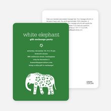 White Elephant Party Invitations - Forest Green
