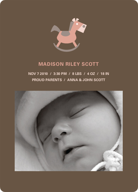 Rocking Horse Baby Announcement - Burly Wood