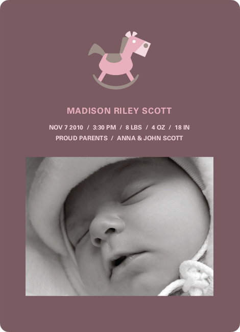 Rocking Horse Baby Announcement - Rust