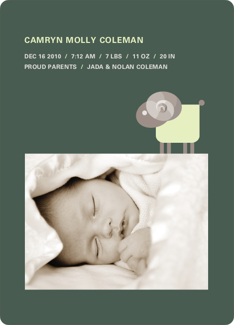 Sheep Baby Announcement - Forest Green