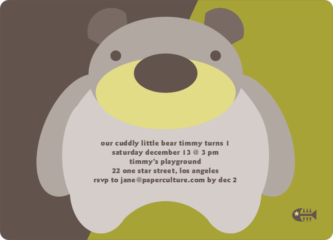 Cuddly Bear Birthday Party Invitations - Split Pea Soup