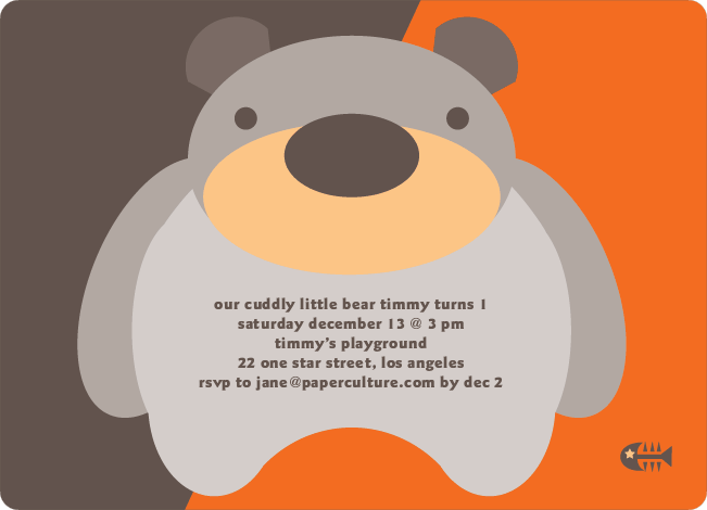 Cuddly Bear Birthday Party Invitations - Mandarin Orange