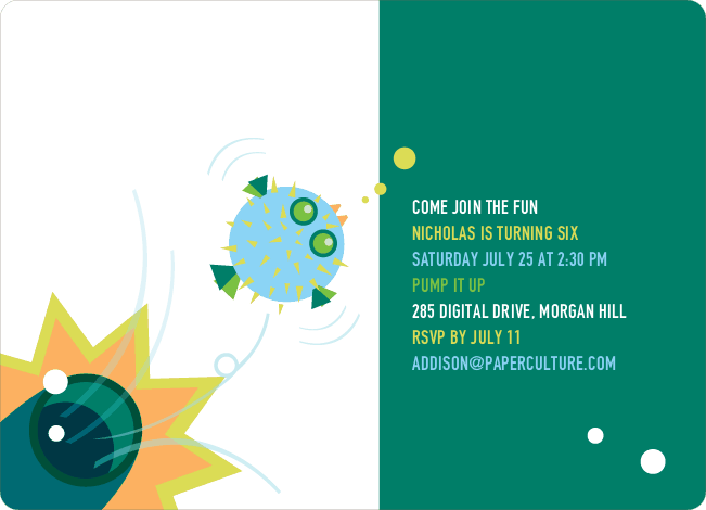 Blowfish Modern Birthday Party Invitation - Teal