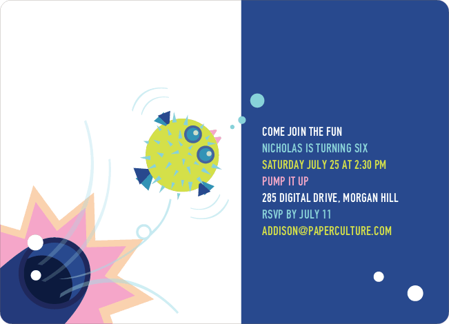 Blowfish Modern Birthday Party Invitation - Blue Violet