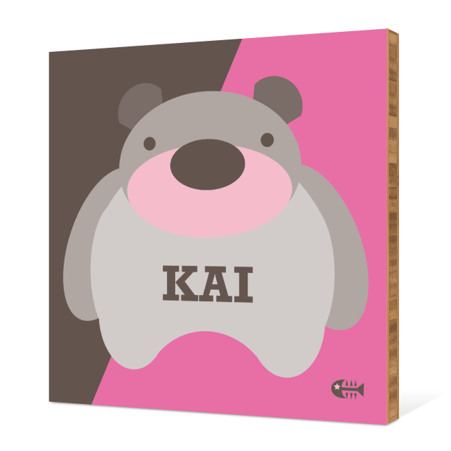 Cuddly Bear Modern Bamboo Art - Cranberry Cream