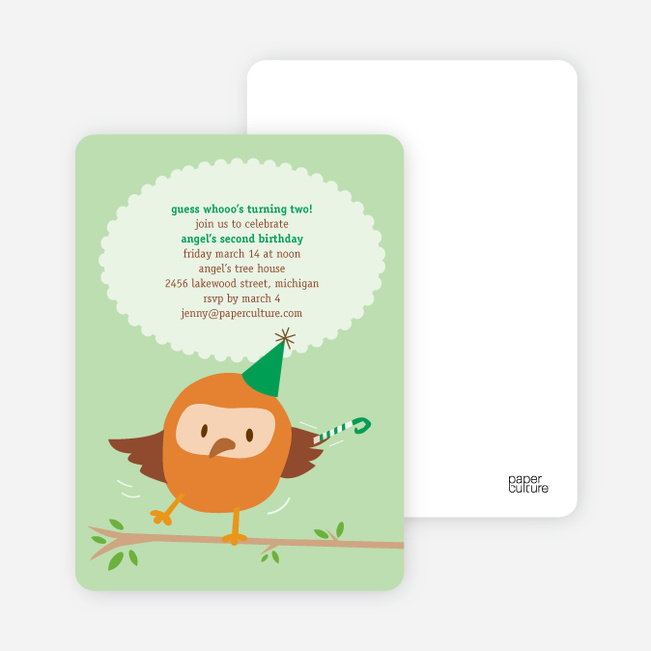 Whoo Yeah, Dancing Owl Birthday Party Invitations - Fresh Mint