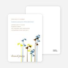 Wild Flower Invitation and Announcement - Steel Blue