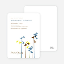 Wild Flower Invitation and Announcement - Steel Blue